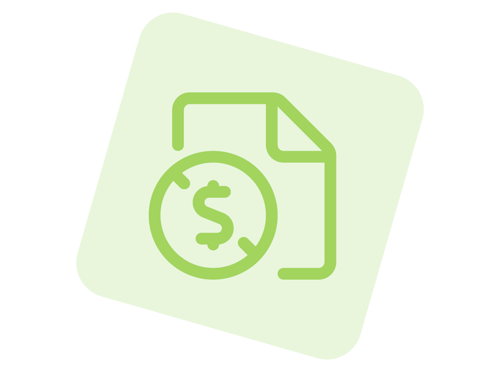 Document with money sign in green.