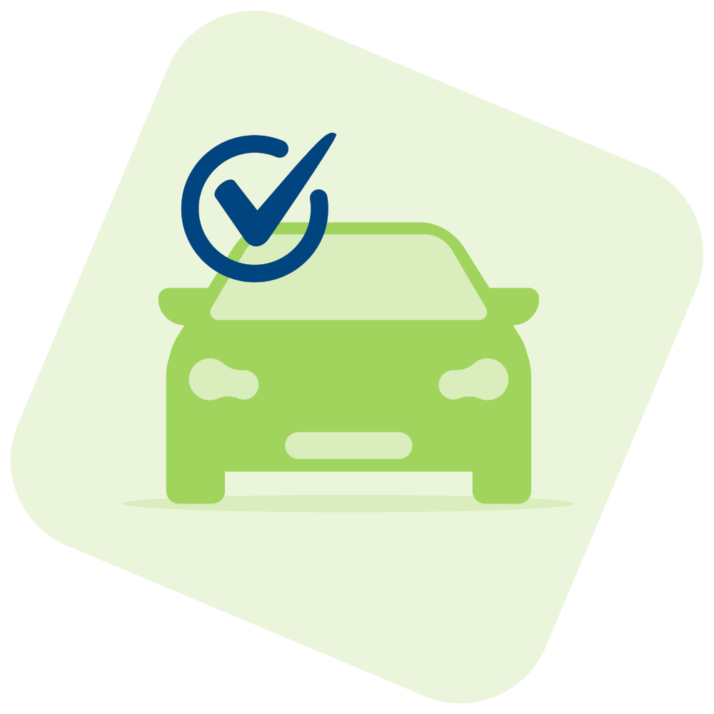 Car illustration with a check mark.